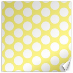 Yellow Polkadot Canvas 20  x 20  (Unframed)