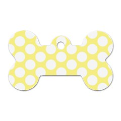 Yellow Polkadot Dog Tag Bone (One Sided)