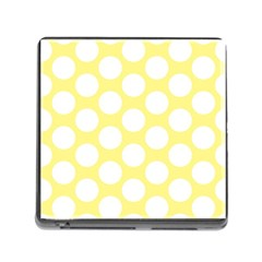 Yellow Polkadot Memory Card Reader with Storage (Square)
