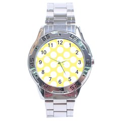 Yellow Polkadot Stainless Steel Watch