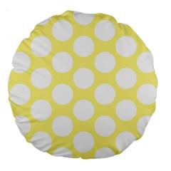 Yellow Polkadot 18  Premium Round Cushion