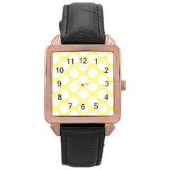 Yellow Polkadot Rose Gold Leather Watch