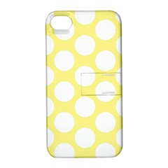 Yellow Polkadot Apple Iphone 4/4s Hardshell Case With Stand