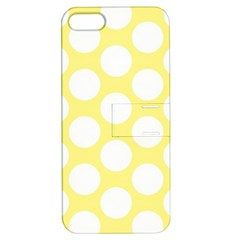 Yellow Polkadot Apple Iphone 5 Hardshell Case With Stand