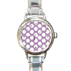 Lilac Polkadot Round Italian Charm Watch