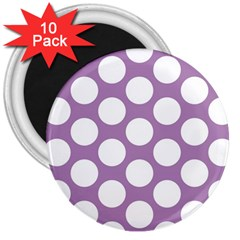 Lilac Polkadot 3  Button Magnet (10 pack)