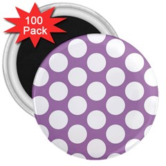 Lilac Polkadot 3  Button Magnet (100 pack)