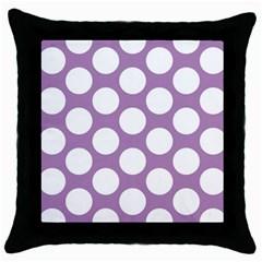 Lilac Polkadot Black Throw Pillow Case