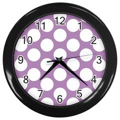Lilac Polkadot Wall Clock (Black)