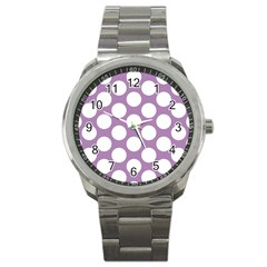 Lilac Polkadot Sport Metal Watch