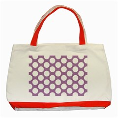 Lilac Polkadot Classic Tote Bag (red)