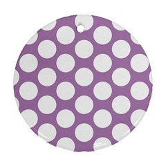 Lilac Polkadot Round Ornament (two Sides)