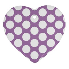 Lilac Polkadot Heart Ornament (Two Sides)