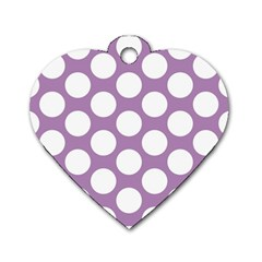 Lilac Polkadot Dog Tag Heart (One Sided)