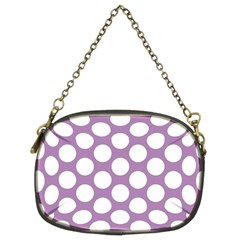 Lilac Polkadot Chain Purse (two Sided)