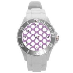 Lilac Polkadot Plastic Sport Watch (Large)