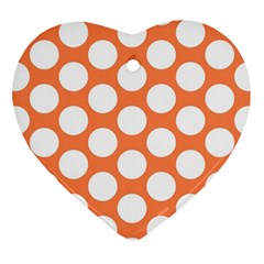 Orange Polkadot Heart Ornament