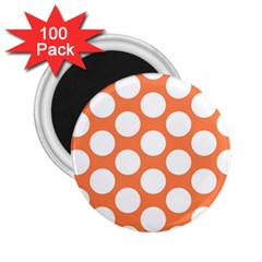 Orange Polkadot 2 25  Button Magnet (100 Pack)