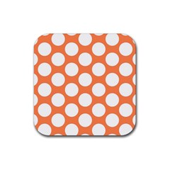 Orange Polkadot Drink Coaster (square)