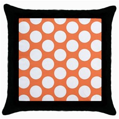 Orange Polkadot Black Throw Pillow Case