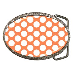 Orange Polkadot Belt Buckle (Oval)