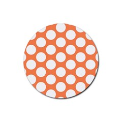 Orange Polkadot Drink Coasters 4 Pack (round)