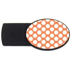 Orange Polkadot 2GB USB Flash Drive (Oval)