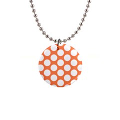 Orange Polkadot Button Necklace