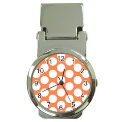 Orange Polkadot Money Clip with Watch