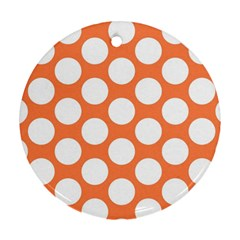 Orange Polkadot Round Ornament (Two Sides)