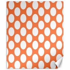 Orange Polkadot Canvas 8  x 10  (Unframed)