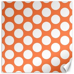 Orange Polkadot Canvas 20  x 20  (Unframed)