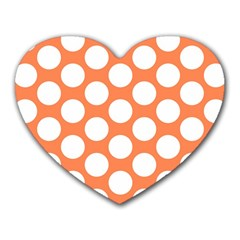 Orange Polkadot Mouse Pad (Heart)
