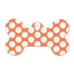Orange Polkadot Dog Tag Bone (two Sided)