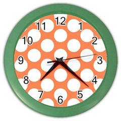 Orange Polkadot Wall Clock (Color)