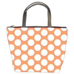 Orange Polkadot Bucket Handbag