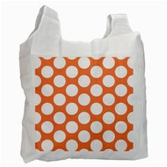 Orange Polkadot White Reusable Bag (Two Sides)