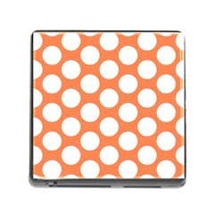 Orange Polkadot Memory Card Reader With Storage (square)