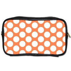 Orange Polkadot Travel Toiletry Bag (one Side)