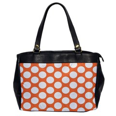 Orange Polkadot Oversize Office Handbag (One Side)