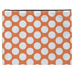 Orange Polkadot Cosmetic Bag (XXXL)