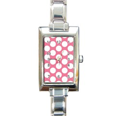 Pink Polkadot Rectangular Italian Charm Watch