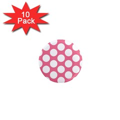 Pink Polkadot 1  Mini Button Magnet (10 pack)