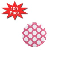Pink Polkadot 1  Mini Button Magnet (100 pack)