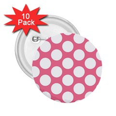 Pink Polkadot 2 25  Button (10 Pack)