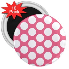 Pink Polkadot 3  Button Magnet (10 Pack)