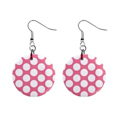 Pink Polkadot Mini Button Earrings