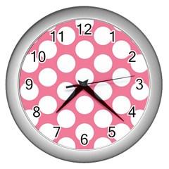 Pink Polkadot Wall Clock (Silver)