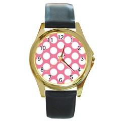 Pink Polkadot Round Leather Watch (Gold Rim)
