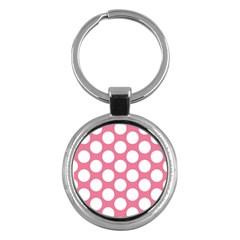 Pink Polkadot Key Chain (Round)